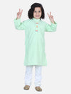 Lilpicks Green White Thread Chikankari Kurta Pyjama Set