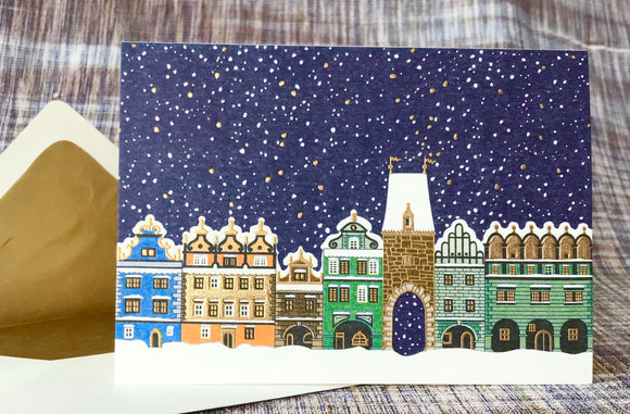 Snow Covered Town Square Note Card