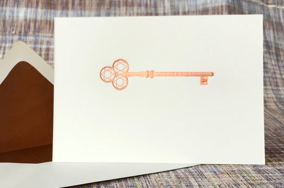 Antique Copper Key Note Card