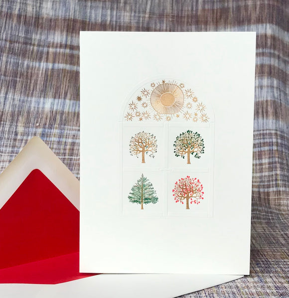 Four Seasons Window Note Card
