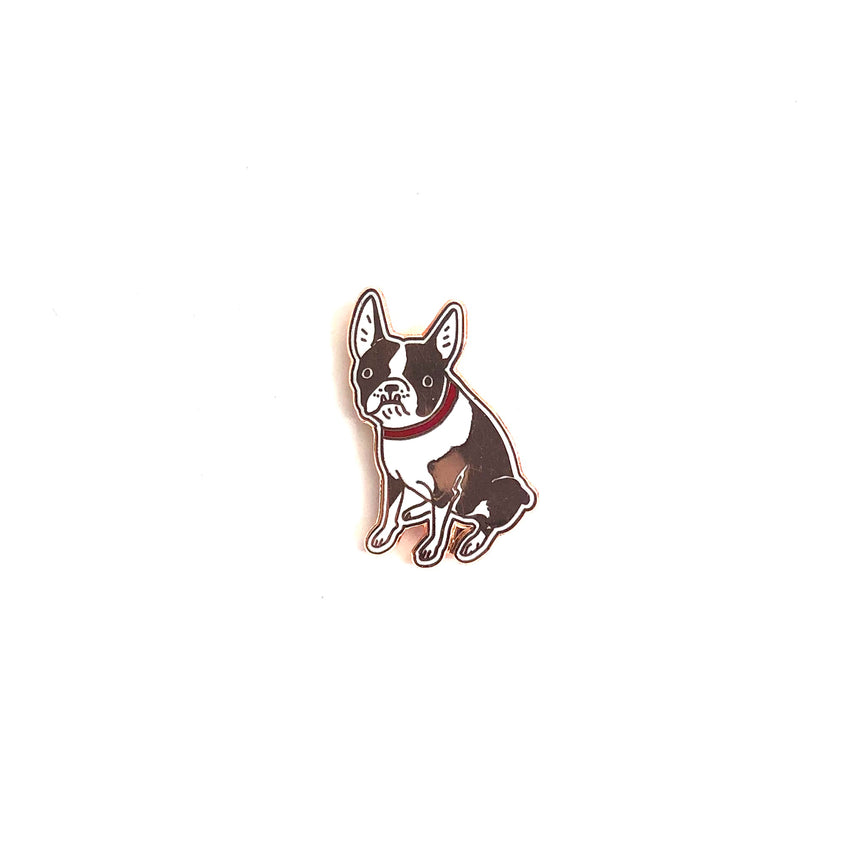 Brown Boston Terrier Lapel Pin
