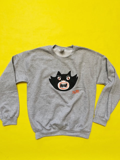 Hand Painted Black Cat Sweatshirt