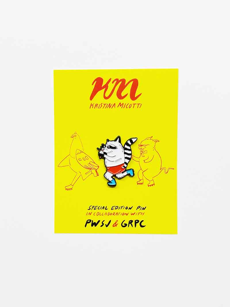 PWSJ x KM Raccoon Lapel Pin