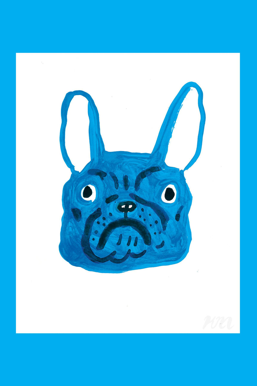 Blue Frenchie Head Print
