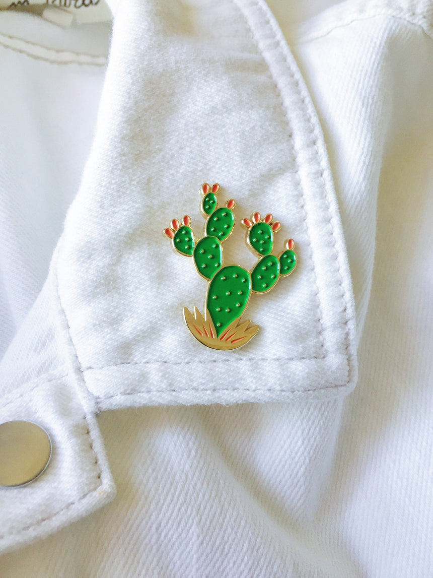 Prickly Pear Cactus Lapel Pin