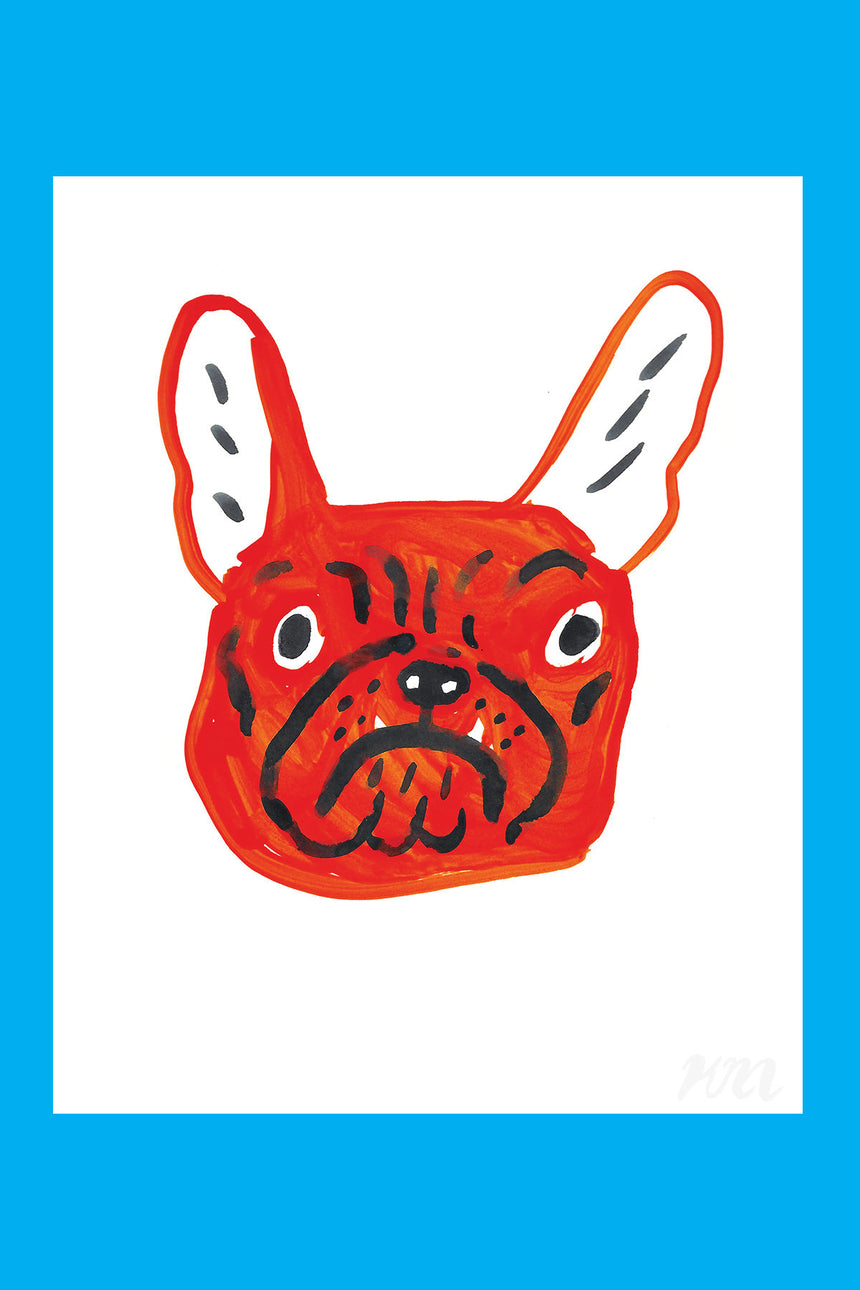 Red Frenchie Dog Head Print