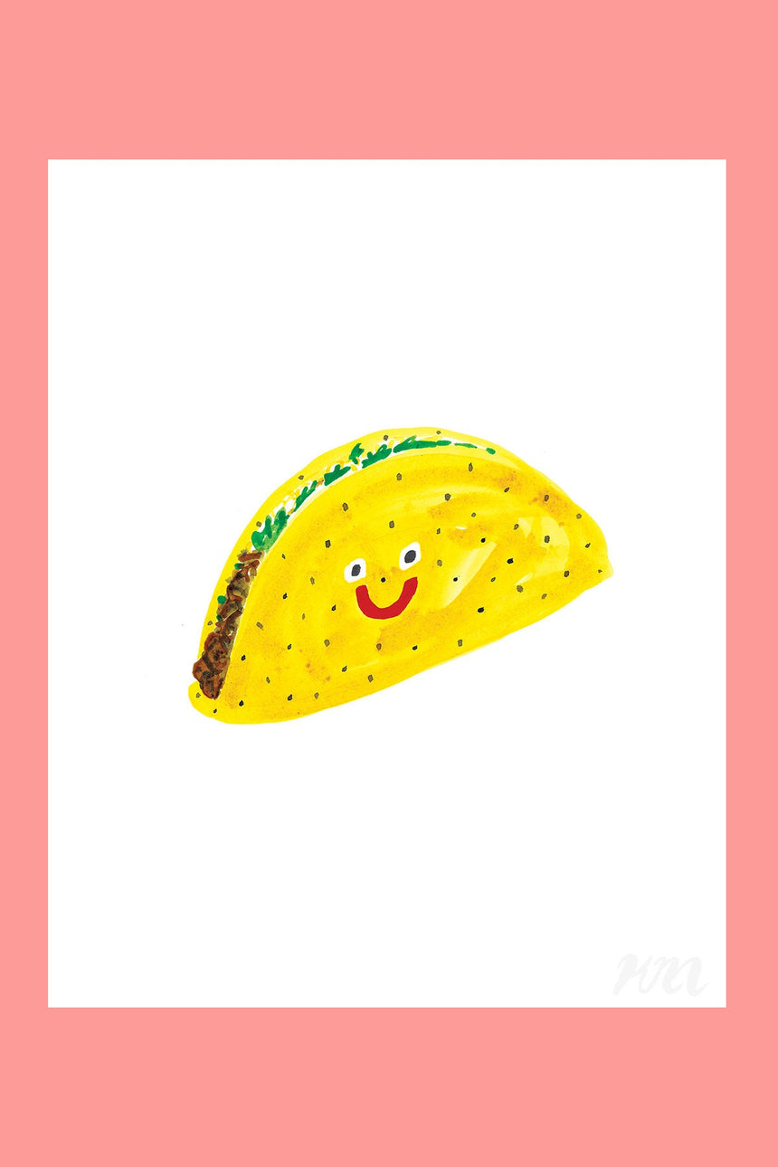 Taco Happy Food Print