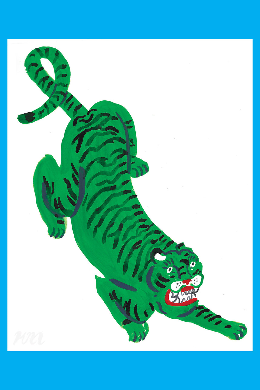 Green Tiger Large Big Cat Print
