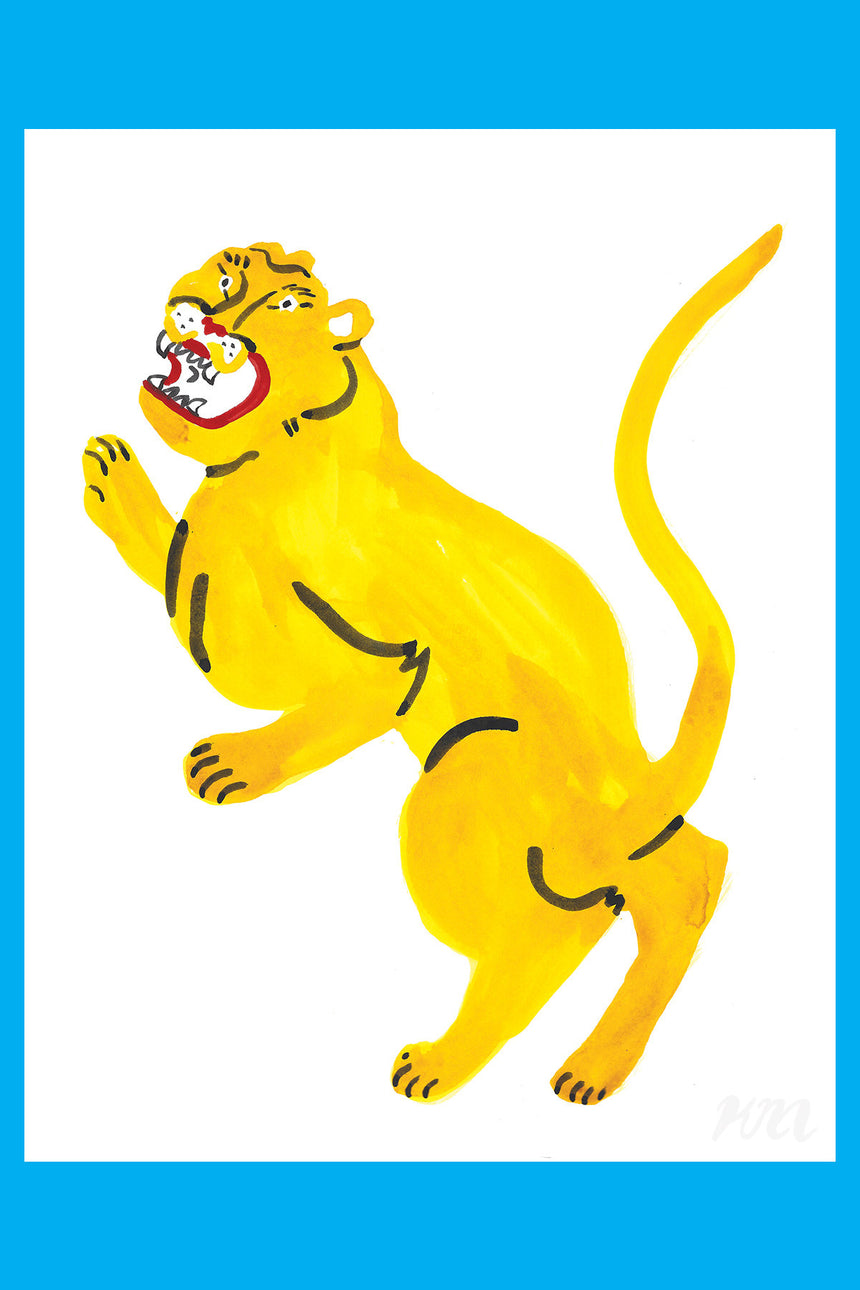 Yellow Panther Large Big Cat Print