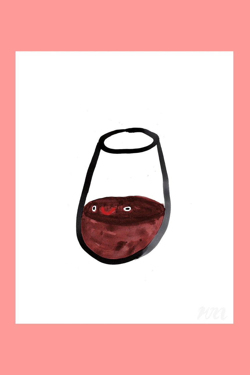 Wine Happy Food Print