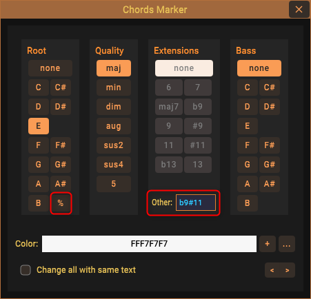 Enter specific chord extension as text; repeat measure symbol