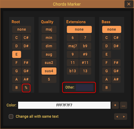 Enter custom chord extensions and option to insert a repeat measure symbol