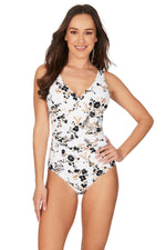 Floral Opulence White Louise Cross Front Tummy Control One Piece Swimsuit