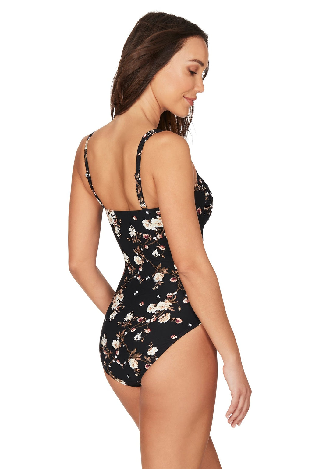 Vine & Dine Black Twist Front Design Tummy Control One Piece Swimsuit - Final Sale