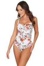 Paradise Splice White Joanne Twist Front Design Tummy Control One Piece Swimsuit