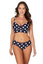 Navy Ava Spot Bette Pin Up Style Tummy Control Bikini Set Swimsuit