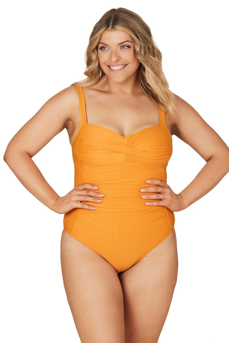Omega Orange Joanne Twist Front Design Tummy Control One Piece Swimsuit