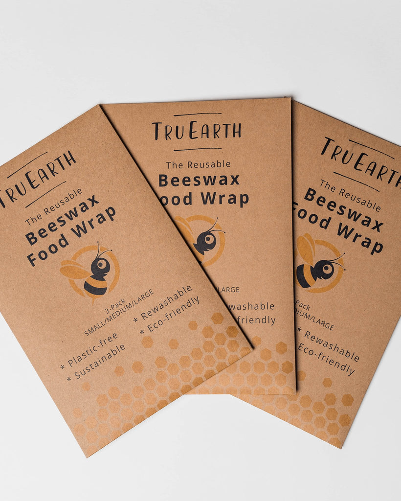 Beeswax Food Wrap Assorted 3-pack by Tru Earth - 1 Small, 1 Medium, 1 Large - Go Mawi