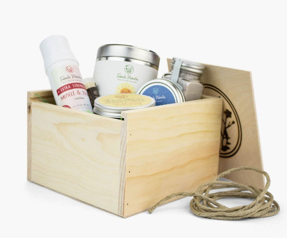 Large gift box of natural skin care for grandma