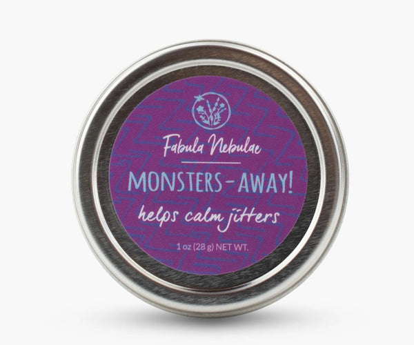 Monsters Away aromatherapy balm on white background
