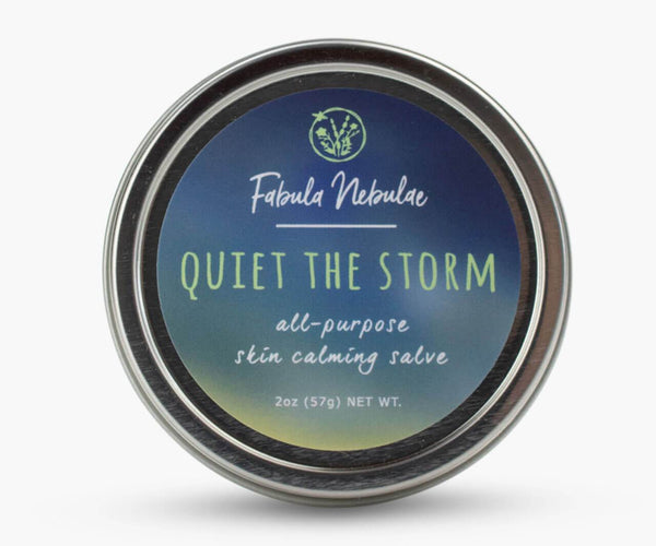 A tin of Salve to Quiet the storm on white background
