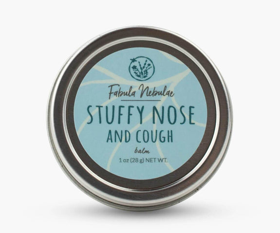 Stuffy Nose and Cough aromatherapy balm tin on white background