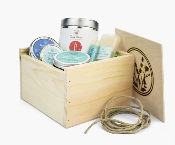 Large handcrafted gift box with skin care for winter