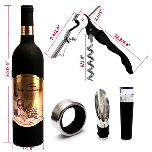 5 Pcs/set Deluxe Wine Accessories Gift Set - Wine Bottle Corkscrew Opener, Stopper, Drip Ring, Foil Cutter and Wine Pourer, Novelty Bottle-Shaped Best Gifts for Wine Lover, Gadgets for Men Women, 2 Colors By Low Cost Leeder
