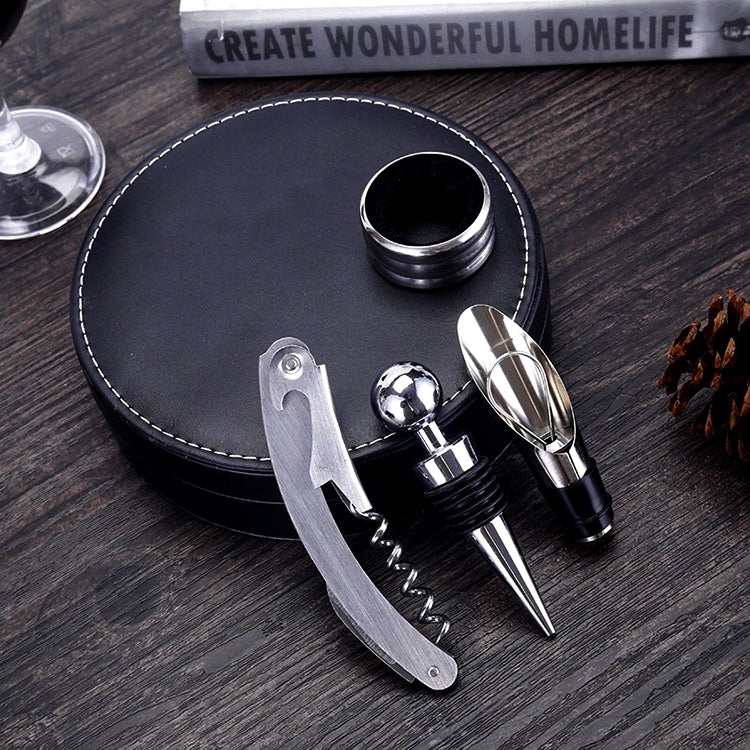 4PCS – Includes Aerator/Pourer, Drip Collar Ring, Corkscrew, Breather & Stylish Faux Leather Case By Low Cost Leeder