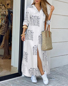 Letter Print Buttoned Slit Shirt Dress