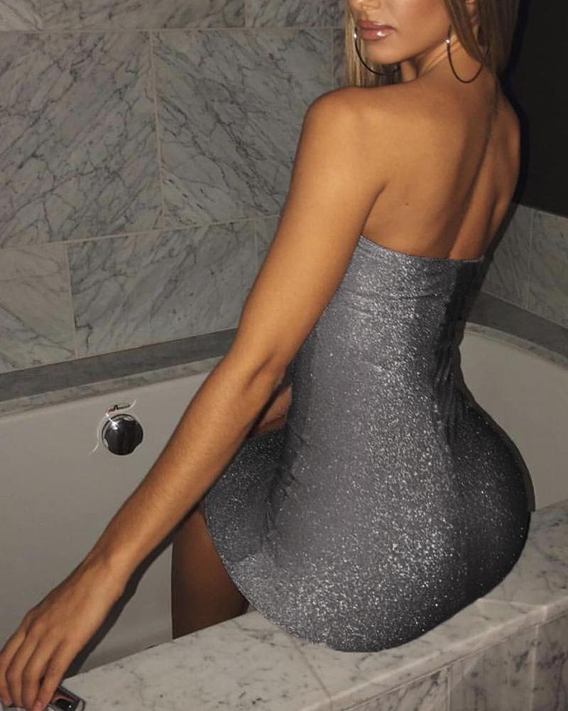 Off Shoulder Sequined Bodycon Mini Dress