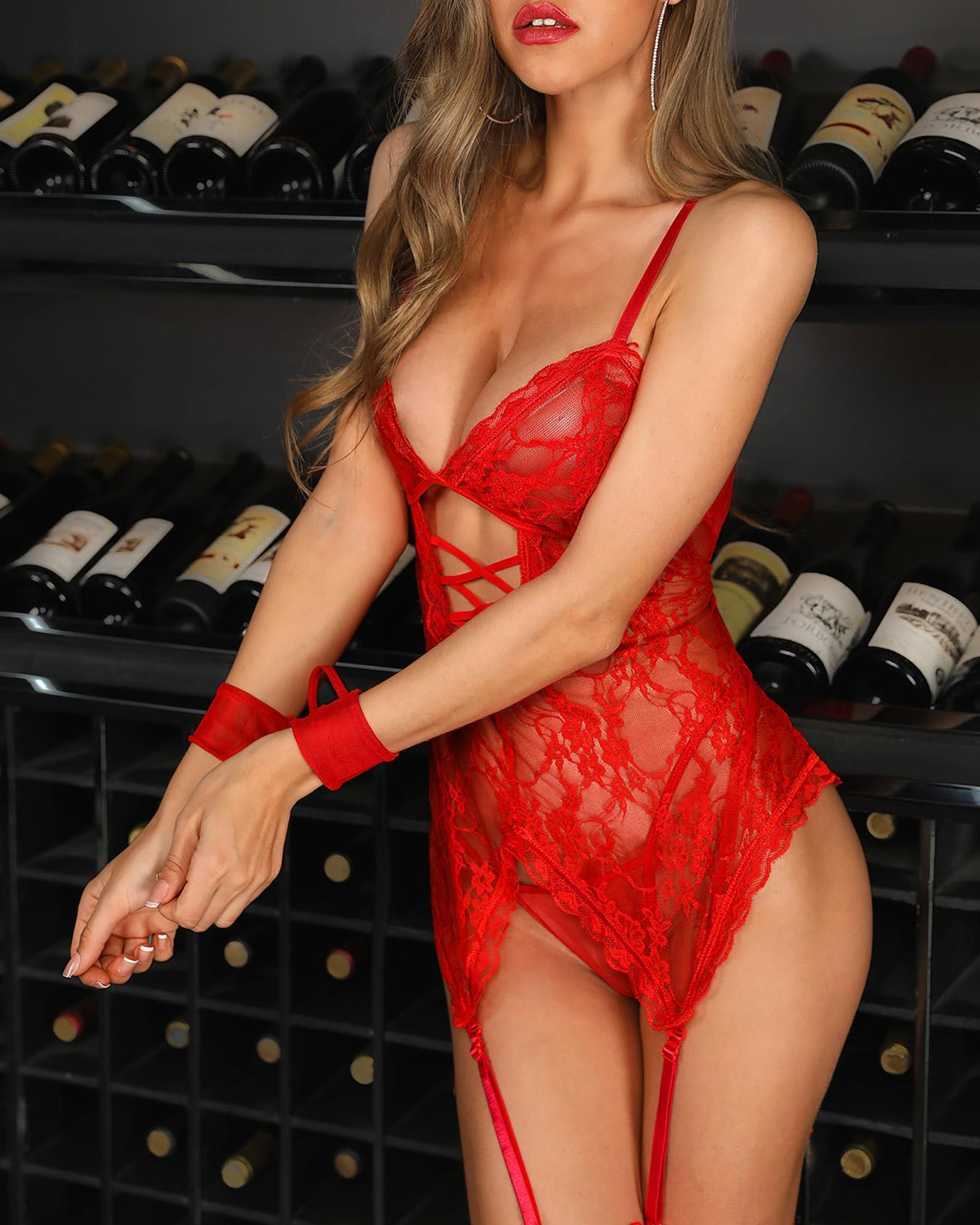 See Through Mesh Lace Babydoll Dress