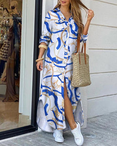 Chain Print Buttoned Slit Shirt Dress