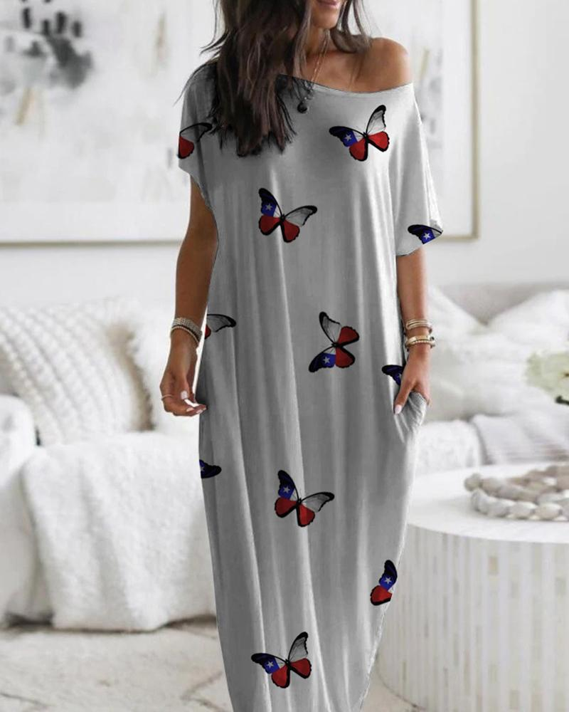 Butterfly Print Short Sleeve Casual Dress