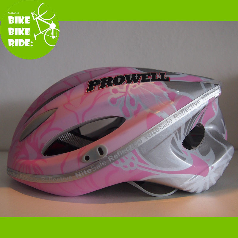 Prowell bike helmet, matted pink-grey