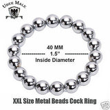 "1.5"" Metal Stainless Steel Cock Ring Beaded Penis Power Beads Erection Enhancer"