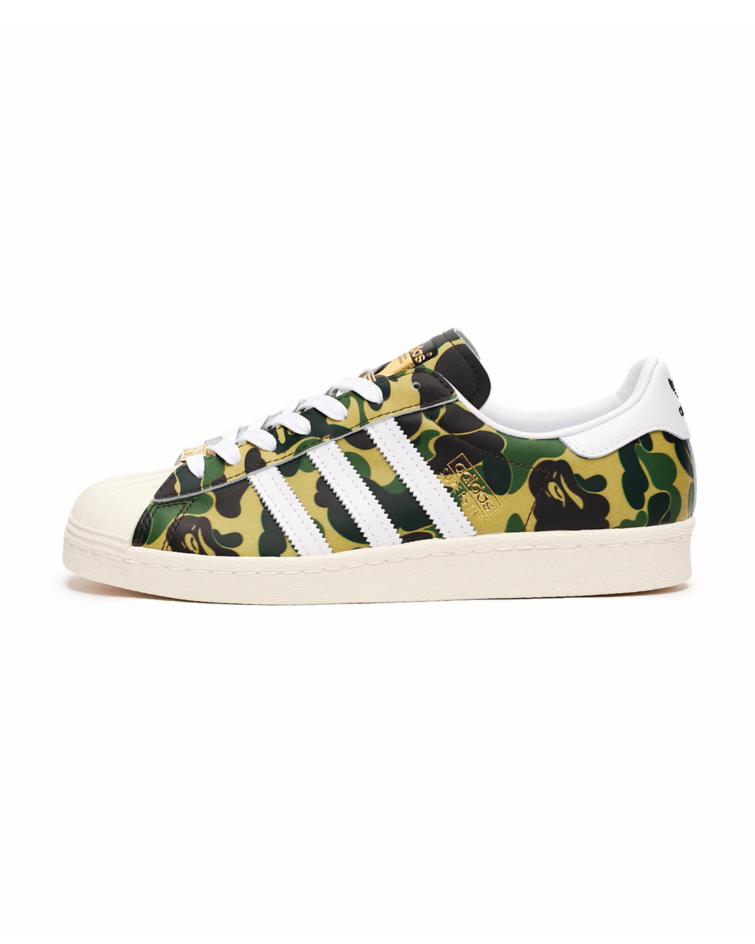 ADIDAS X A BATHING APE SUPERSTAR 80'S - GREEN CAMO, WHITE & OFF WHITE