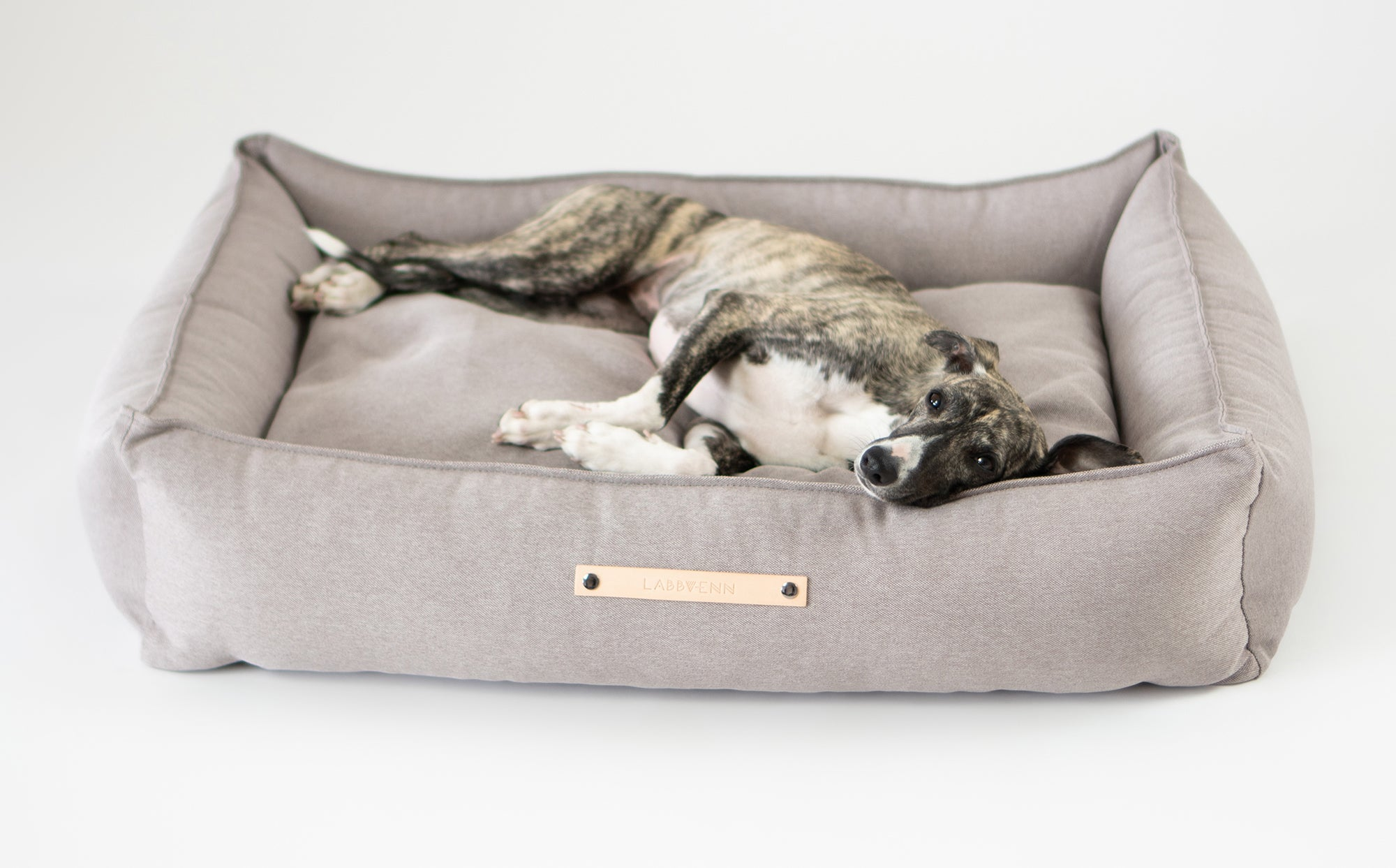 Labbvenn Luxury Orthopedic Dog Bed Taupe Neutral Removable Washable Covers