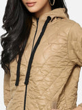 Women Brown Solid Windcheater Quilted Jacket