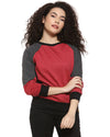 Full Sleeve Self Design, Color Block Women Sweatshirt
