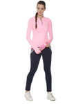 Solid Women Mandarin Collar Light Pink Sports T-Shirt