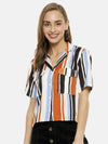 Women Half Sleeve Striped Stylish Casual Shirts