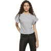 Casual Flare Sleeve Solid Women Grey Top