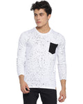 Men's Polka Printed White T-shirt