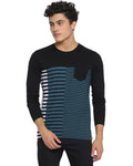 Men's Front Stripe Round Neck T-shirt