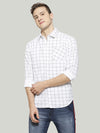 Men White Checkered Shirt