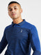 Men Full Sleeve Solid Blue T-Shirt