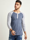 Men Full Sleeve Blue & Grey T-Shirt