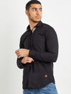 Men Full Sleeve Solid Black Shirt