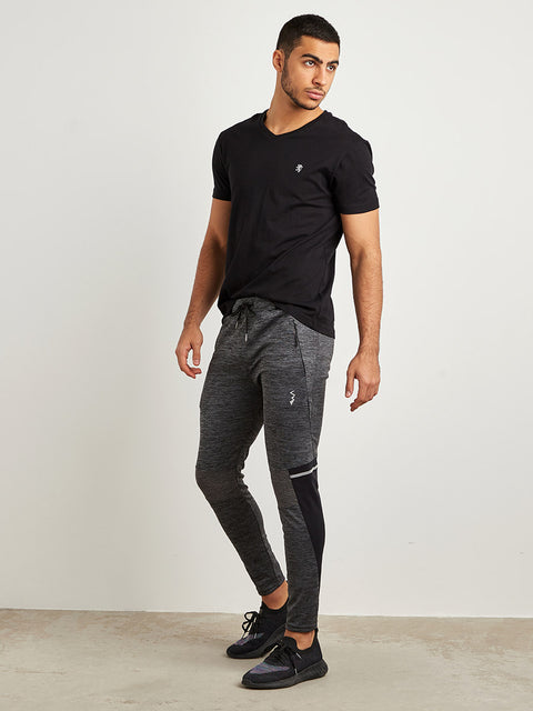 Men Black Solid Trackpant
